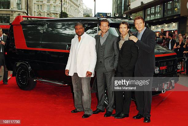 Liam Neeson Bradley Cooper Sharlto Copley and Quinton Jackson attends the UK Film Premiere of 'The ATeam ' at the Empire Leicester Square on July 27...