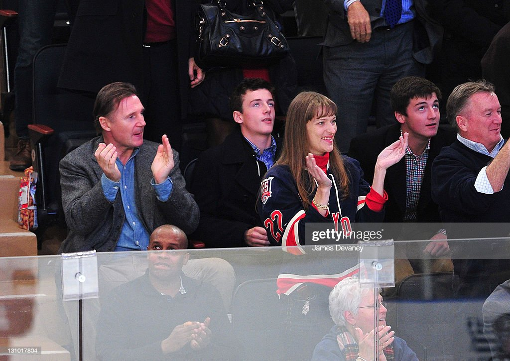 <a gi-track='captionPersonalityLinkClicked' href=/galleries/search?phrase=Liam+Neeson&family=editorial&specificpeople=202030 ng-click='$event.stopPropagation()'>Liam Neeson</a>, Michael Neeson and Daniel Neeson attend the San Jose Sharks vs the New York Rangers game at Madison Square Garden on October 31, 2011 in New York City.