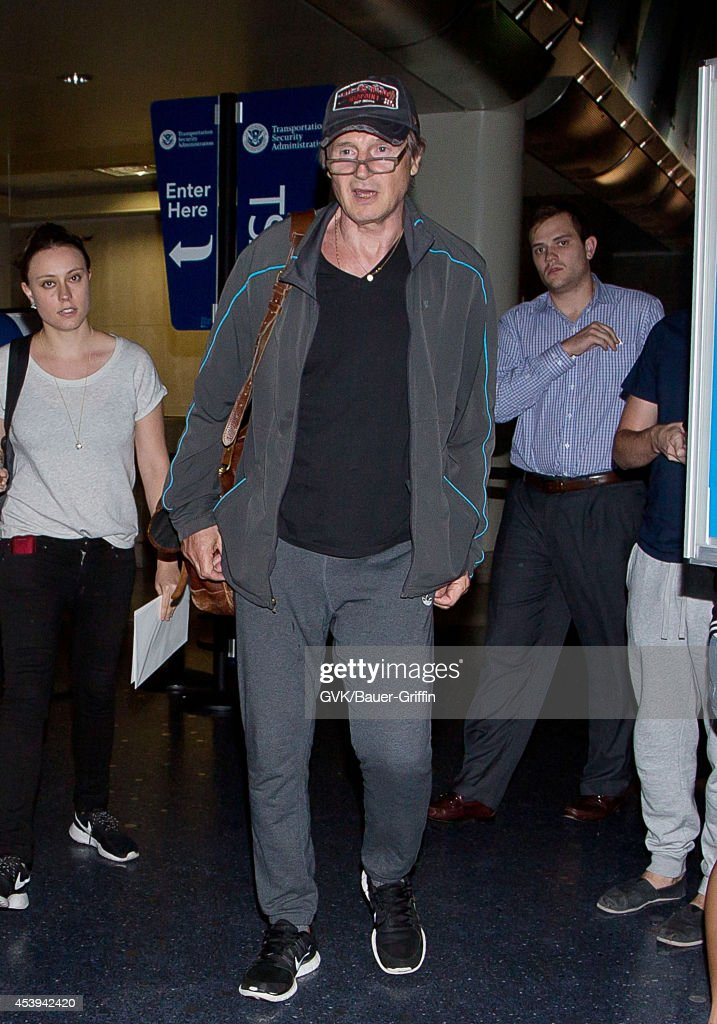 Liam Neeson seen at LAX on August 21, 2014 in Los Angeles, California.
