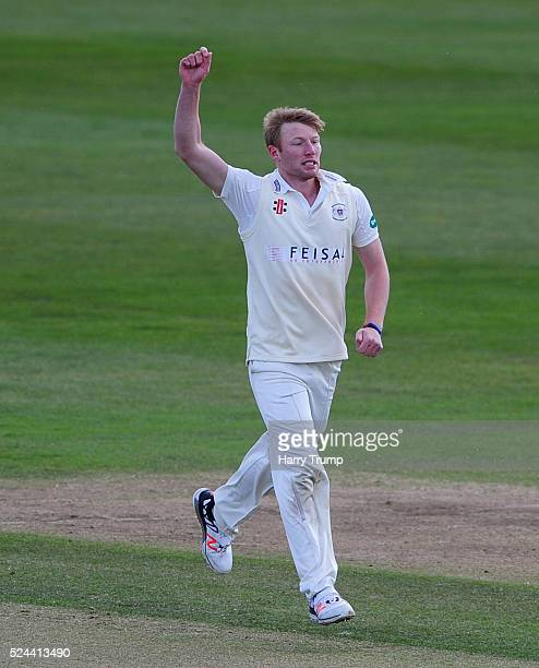 Liam Norwell celebrates after taking the wicket of Ben Cox of Worcestershire during Day Three of the Specsavers County Championship match between...