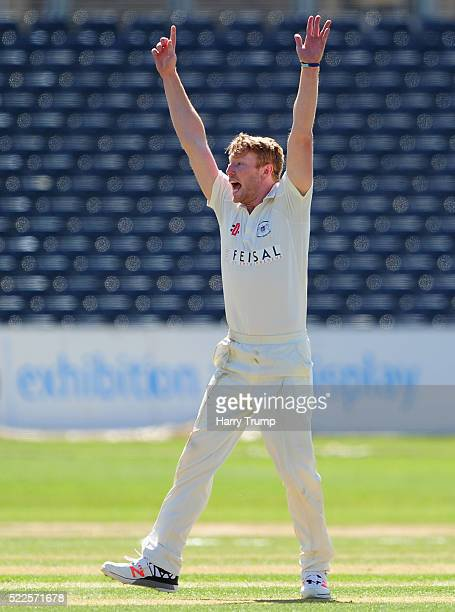 Liam Norwell of Gloucestershire appeals during Day Four of the Specsavers County Championship Division Two match between Gloucestershire and...