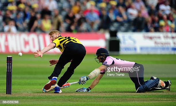 Liam Norwell of Gloucestershire attempts to run out Steven Eskinazi of Middlesex during the Natwest T20 Blast match between Gloucestershire and...