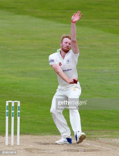 Liam Norwell of Gloucestershire bowls during the Specsavers County Championship Division Two match between Northamptonshire and Gloucestershire at...