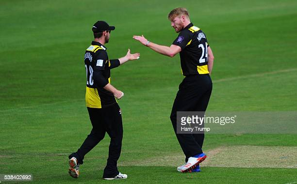 Liam Norwell of Gloucestershire celebrates after dismissing Chris Cooke of Glamorgan during the Royal London One Day Cup match between Glamorgan and...