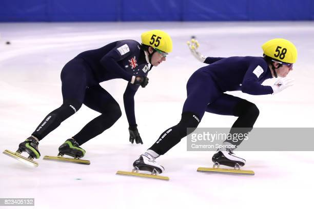 Liam O'Brien of Australia races during the Australian World Cup Short Track Trials on July 27 2017 at Canterbury Olympic Ice Rink in Sydney Australia