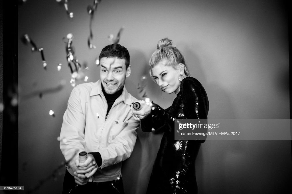 Liam Payne and Hailey Baldwin backstage during the MTV EMAs 2017 held at The SSE Arena, Wembley on November 12, 2017 in London, England.