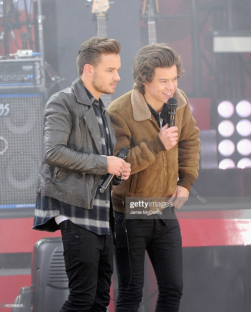Liam Payne and Harry Styles of One Direction perform at Rumsey Playfield on November 26, 2013 in New York City.