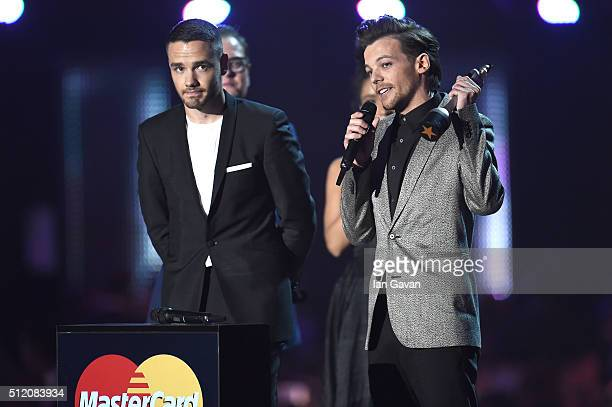 Liam Payne and Louis Tomlinson from One Direction with their British Artist Video of the Year award on stage at the BRIT Awards 2016 at The O2 Arena...