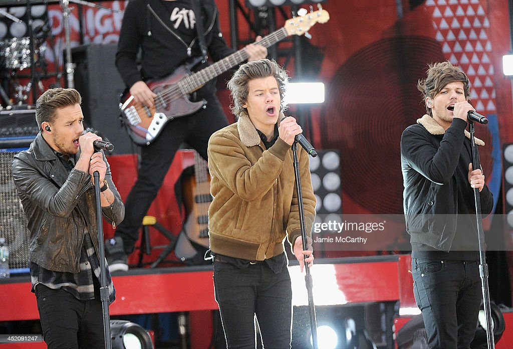 Liam Payne, Harry Styles and Louis Tomlinson of One Direction perform at Rumsey Playfield on November 26, 2013 in New York City.