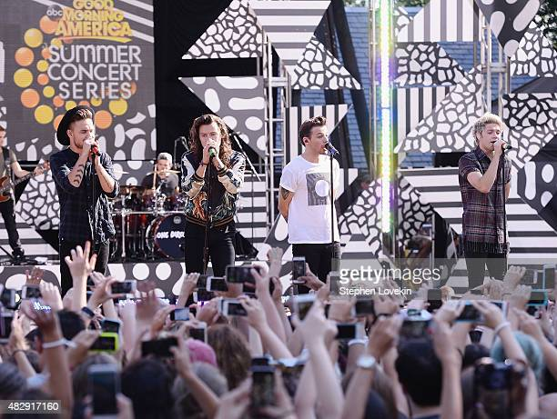 Liam Payne Harry Styles Louis Tomlinson and Niall Horan of One Direction perform on ABC's 'Good Morning America' at Rumsey Playfield Central Park on...