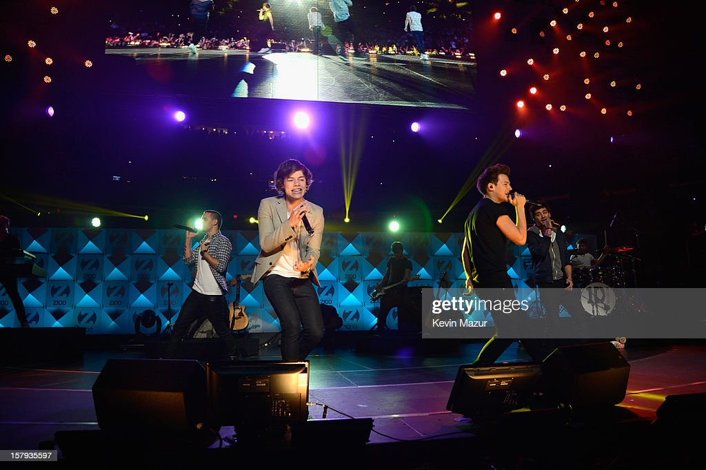 Liam Payne, Harry Styles, Louis Tomlinson and Zayn Malik of One Direction perform onstage during Z100's Jingle Ball 2012, presented by Aeropostale, at Madison Square Garden on December 7, 2012 in New York City.