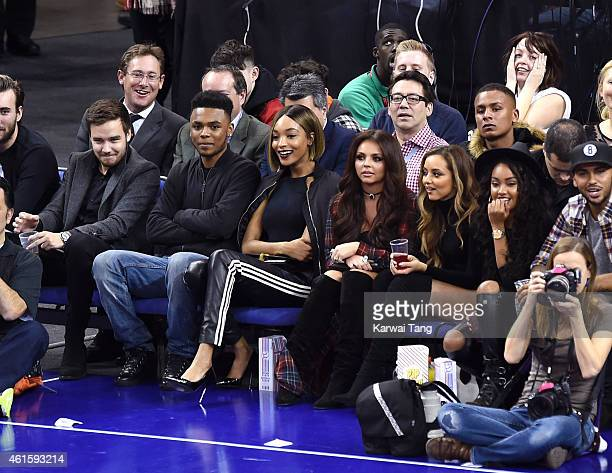 Liam Payne Jourdan Dunn Jesy Nelson Jade Thirwall and LeighAnne Pinnock of Little Mix attend the NBA Global Games match between New York Knicks and...