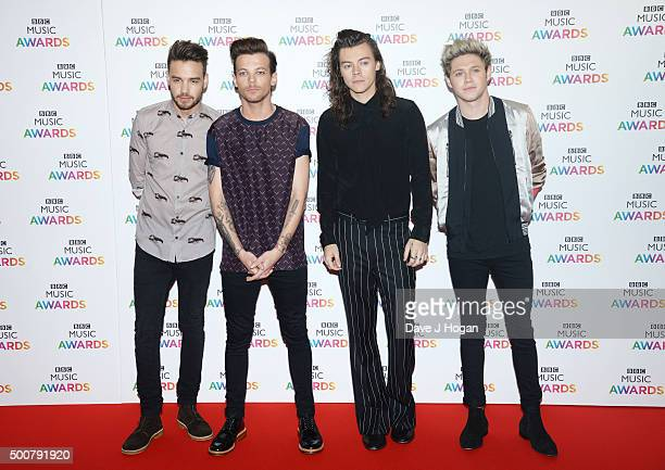 Liam Payne Louis Tomlinson Harry Styles and Niall Horan of One Direction attend the BBC Music Awards at Genting Arena on December 10 2015 in...