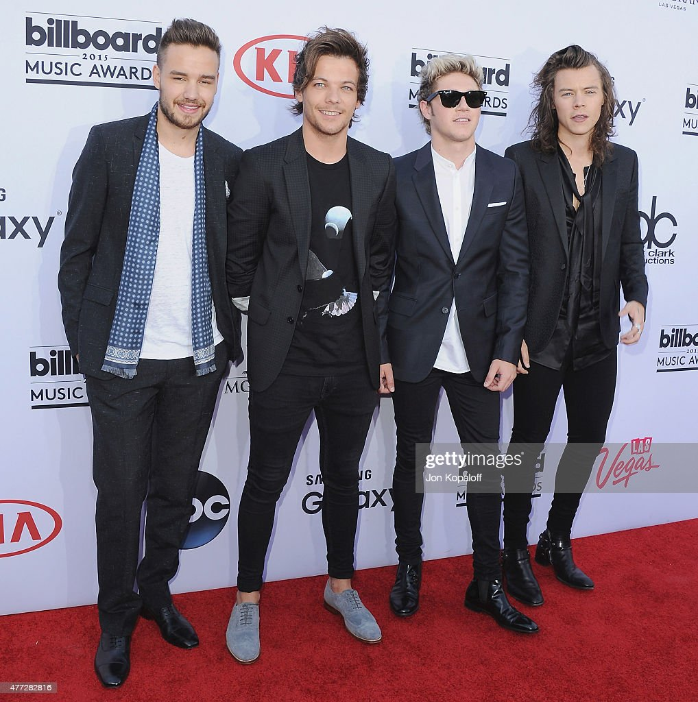 Liam Payne, Louis Tomlinson, Niall Horan and Harry Styles of One Direction arrive arrives at the 2015 Billboard Music Awards at MGM Garden Arena on May 17, 2015 in Las Vegas, Nevada.