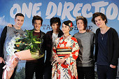 Liam Payne Louis Tomlinson Zayn Malik actress Maki Horikita Niall Horan and Harry Styles of One Direction attend a press conference at the Ritz...