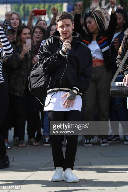 Liam Payne seen shooting his music video for new single 'Get Low' at Tower Bridge on August 15 2017 in London England