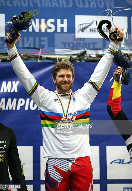 Liam Phillips of Great Britain celebrates winning the Mens Elite Final during day five of the UCI BMX World Championships at Vector Arena on July 28...