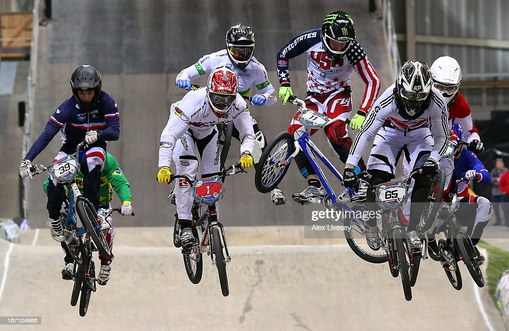 Liam Phillips of Great Britain (65) leads the race over a jump on his way to victory in the Men's Elite Final during the UCI BMX Supercross World Cup at the National Cycling Centre on April 20, 2013 in Manchester, England.
