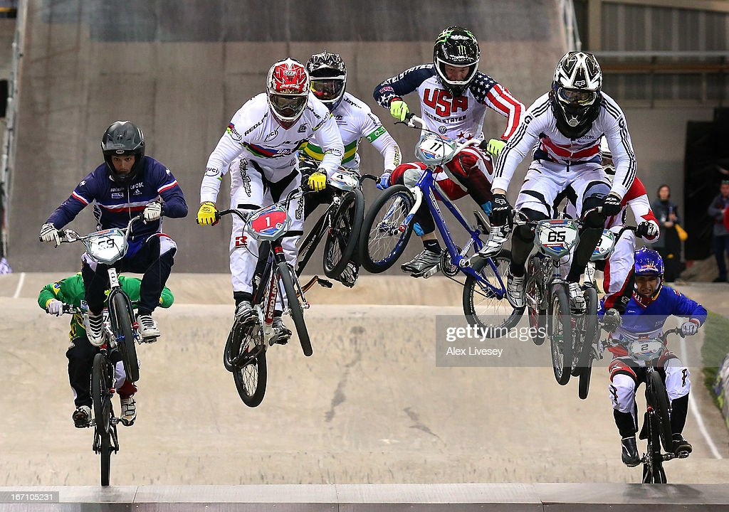 <a gi-track='captionPersonalityLinkClicked' href=/galleries/search?phrase=Liam+Phillips&family=editorial&specificpeople=5440406 ng-click='$event.stopPropagation()'>Liam Phillips</a> of Great Britain (65) leads the race over a jump on his way to victory in the Men's Elite Final during the UCI BMX Supercross World Cup at the National Cycling Centre on April 20, 2013 in Manchester, England.
