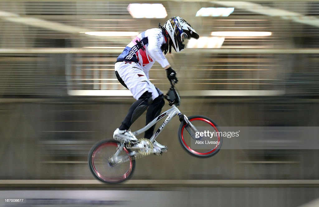 Liam Phillips of Great Britain takes the first jump during his victory in the Men's Elite Time trials Superfinal at the UCI BMX Supercross World Cup at the National Cycling Centre on April 19, 2013 in Manchester, England.
