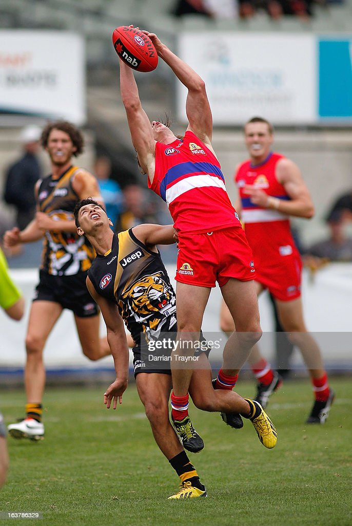 Liam Picken of the Bulldogs attempts to mark the ball during the AFL practice match between the Richmond Tigers and the Western Bulldogs at Visy Park on March 16, 2013 in Melbourne, Australia.
