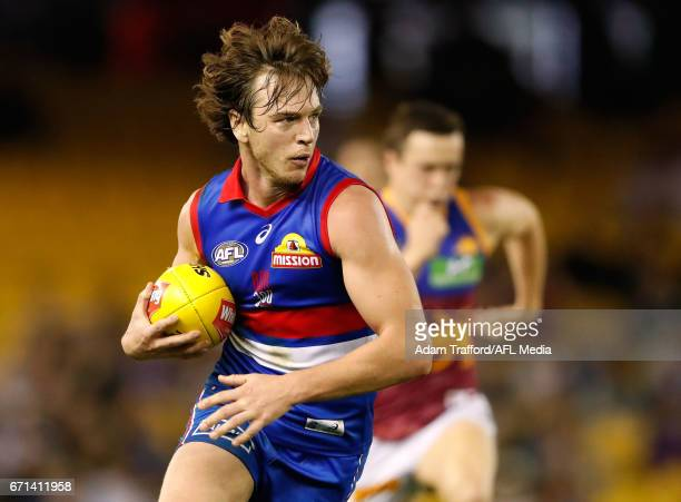 Liam Picken of the Bulldogs in action during the 2017 AFL round 05 match between the Western Bulldogs and the Brisbane Lions at Etihad Stadium on...