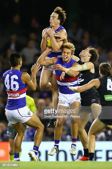 Liam Picken of the Bulldogs takes a mark during the round four AFL match between the Carlton Blues and the Western Bulldogs at Etihad Stadium on...