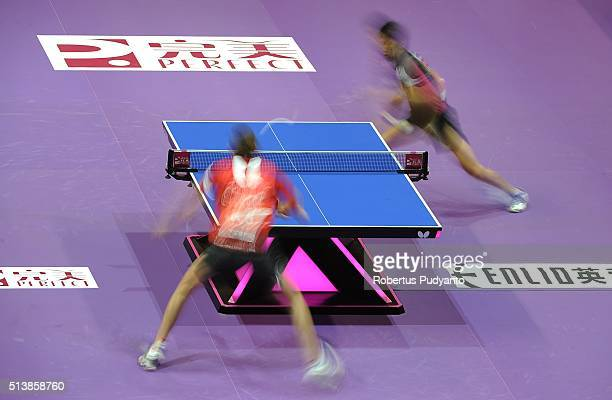 Liam Pitchford of England competes against Maharu Yoshimura of Japan during the 2016 World Table Tennis Championship Men's Team Division semifinal...
