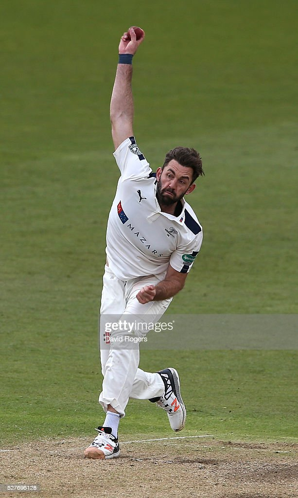 Liam Plunett of Yorkshire bowls during the Specsavers County Championship division one match between Nottinghamshire and Yorkshire at the Trent Bridge on May 3, 2016 in Nottingham, England.