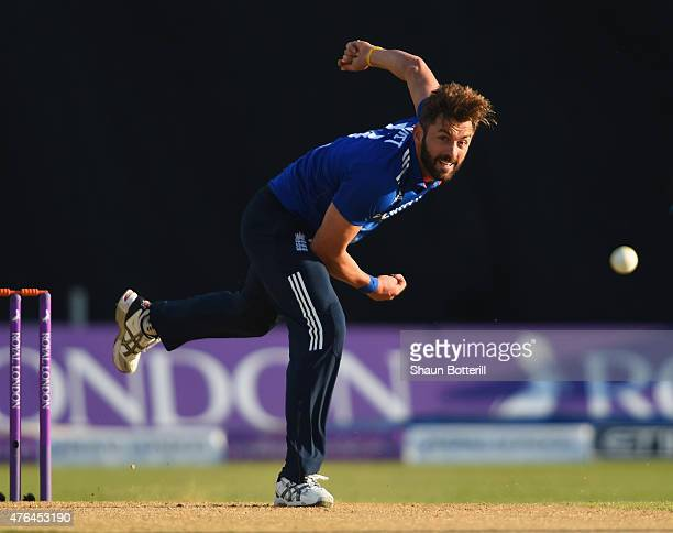 Liam Plunkett of England bowls during the 1st ODI Royal London OneDay Series 2015 match between England and NewZealand at Edgbaston on June 9 2015 in...