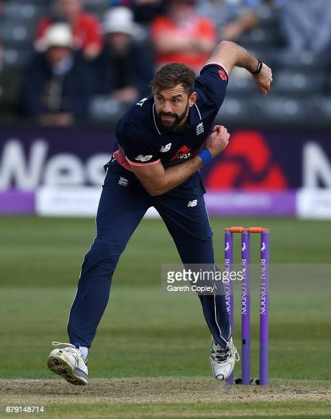 Liam Plunkett of England bowls during the Royal London One Day International between England and Ireland at The Brightside Ground on May 5 2017 in...