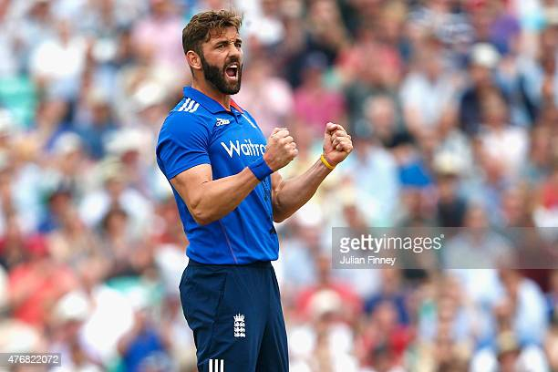 Liam Plunkett of England celebrates after Ben Stokes of England caught out Brendon McCullum of New Zealand during the 2nd ODI Royal London OneDay...