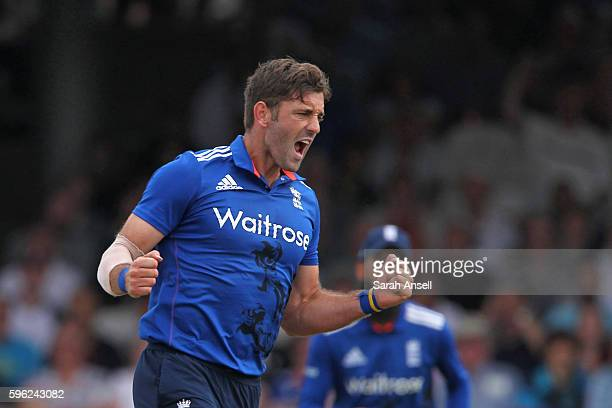Liam Plunkett of England celebrates after taking the wicket of Babar Azam of Pakistan during the 2nd One Day International at Lord's Cricket Ground...