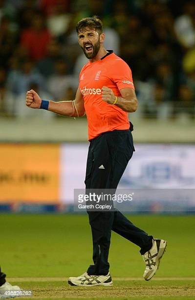 Liam Plunkett of England celebrates dismissing Anwar Ali of Pakistan during the 1st International T20 match between Pakistan and England at Dubai...
