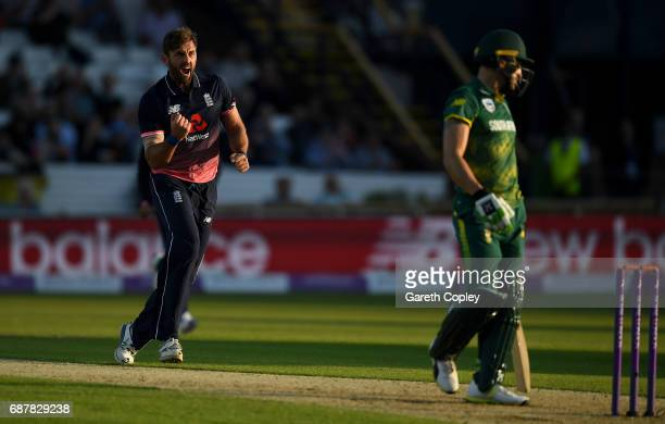 Liam Plunkett of England celebrates dismissing Faf du Plessis of South Africa during the 1st Royal London ODI match between England and South Africa...