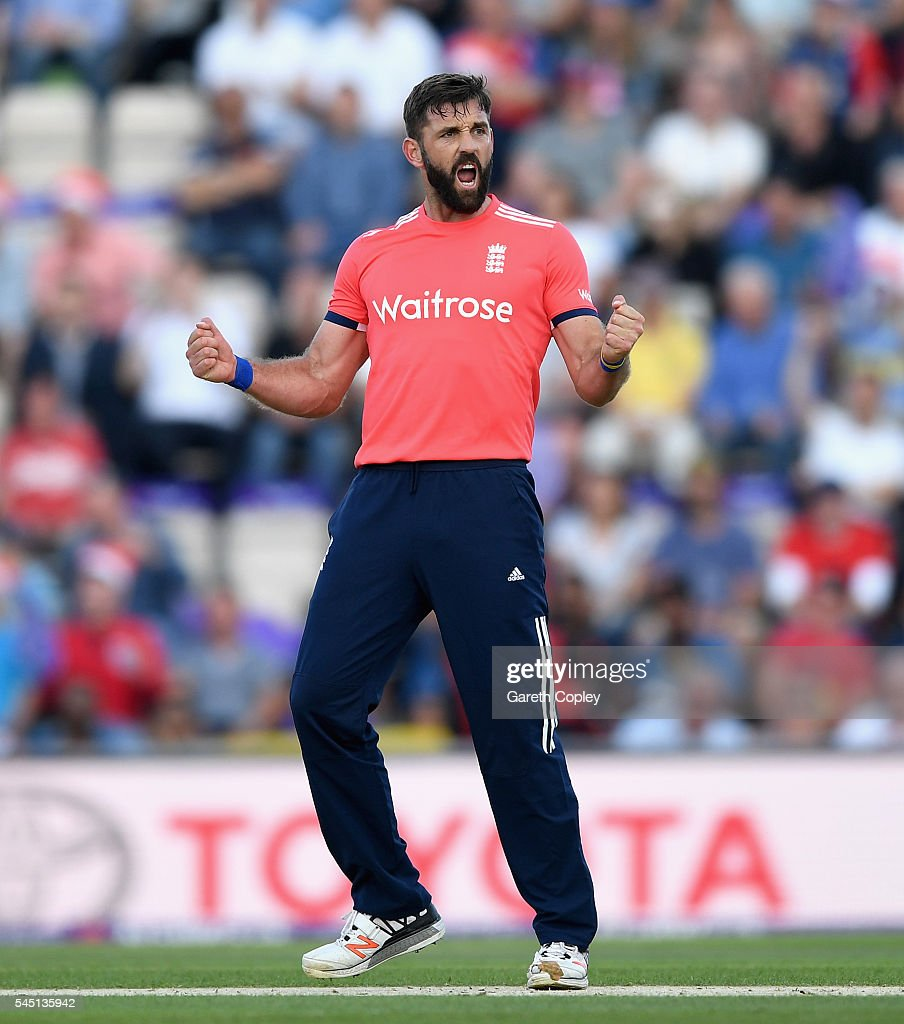 Liam Plunkett of England celebrates dismissing Kusal Perera of Sri Lanka during the Natwest International T20 match between England and Sri Lanka at Ageas Bowl on July 5, 2016 in Southampton, England.