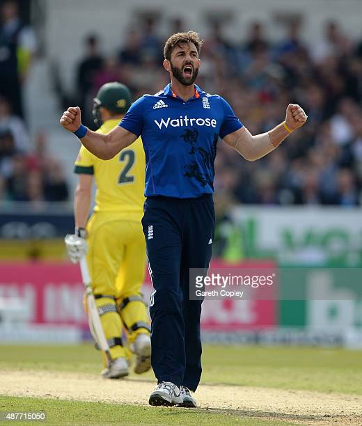 Liam Plunkett of England celebrates dismissing Mitchell Marsh of Australia during the 4th Royal London OneDay International match between England and...