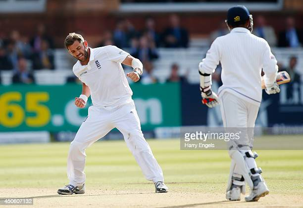 Liam Plunkett of England celebrates dismissing Prasanna Jayawardene of Sri Lanka during day three of the 1st Investec Test match between England and...