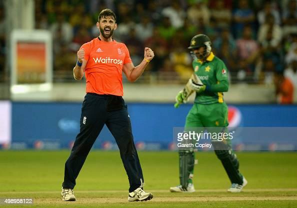 Liam Plunkett of England celebrates dismissing Shoaib Malik of Pakistan during the 2nd International T20 between Pakistan and England at Dubai...