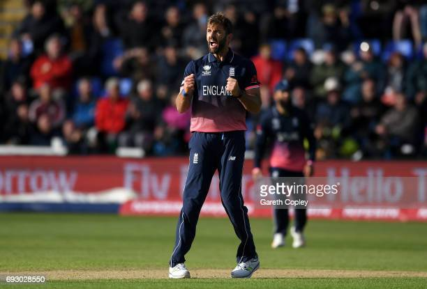 Liam Plunkett of England celebrates dismssing Corey Anderson of New Zealand during the ICC Champions Trophy match between England v New Zealand at...