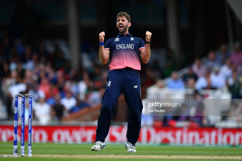 Liam Plunkett of England celebrates taking the wicket of Mushfiqur Rahim of Bangladesh during the ICC Champions Trophy Group A match between England and Bangladesh at The Kia Oval on June 1, 2017 in London, England.