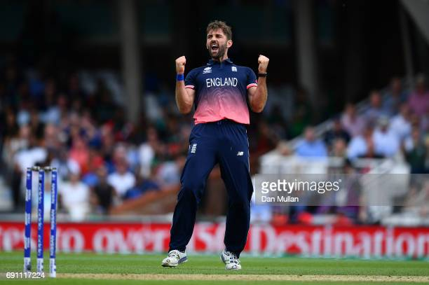 Liam Plunkett of England celebrates taking the wicket of Mushfiqur Rahim of Bangladesh during the ICC Champions Trophy Group A match between England...