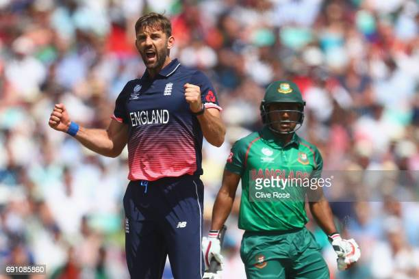 Liam Plunkett of England celebrates the wicket of Imrul Kayes of Bangladesh during the ICC Champions trophy cricket match between England and...