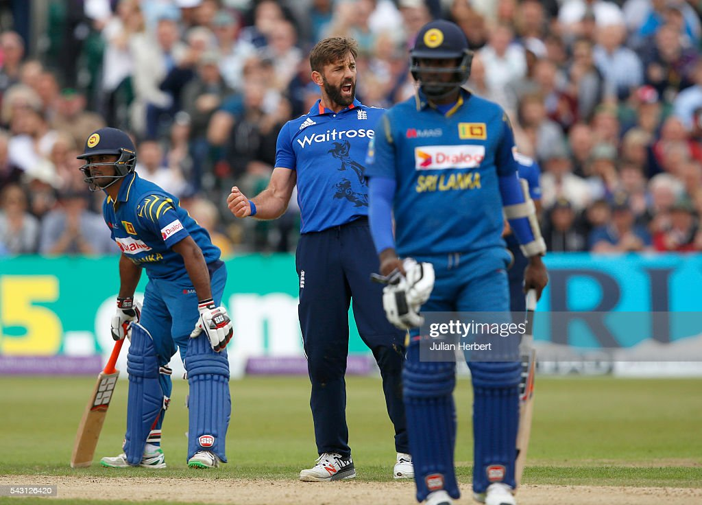 <a gi-track='captionPersonalityLinkClicked' href=/galleries/search?phrase=Liam+Plunkett&family=editorial&specificpeople=535638 ng-click='$event.stopPropagation()'>Liam Plunkett</a> of England celebrates the wicket of Seekuge Prasanna of Sri Lanka during The 3rd ODI Royal London One-Day match between England and Sri Lanka at The County Ground on June 26, 2016 in Bristol, England.