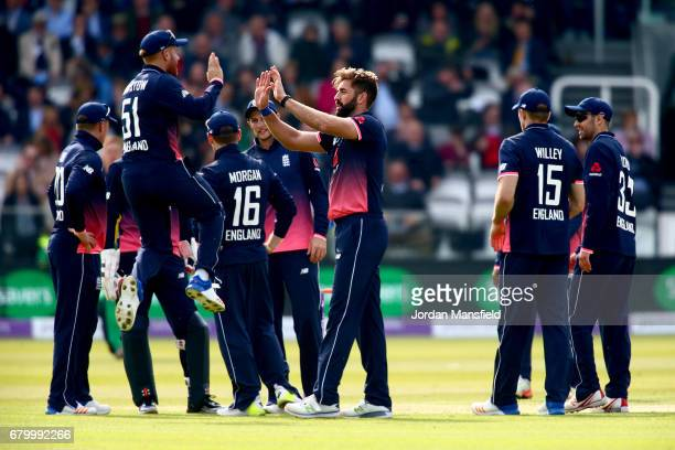 Liam Plunkett of England celebrates with his teammates after dismissing Andrew Balbirnie of Ireland during the Royal London ODI match between England...
