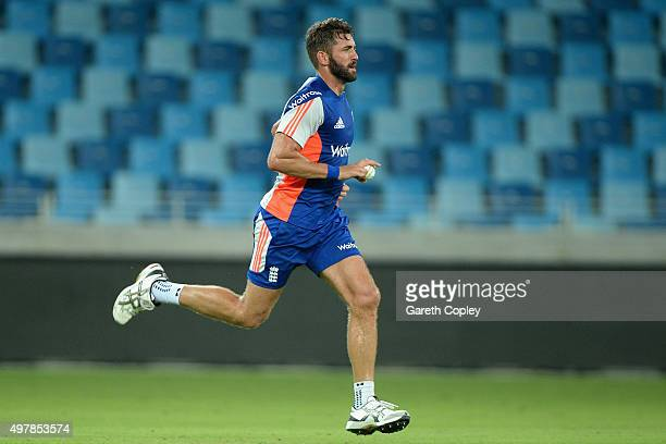 Liam Plunkett of England runs in to bowl during a nets session at Dubai Cricket Stadium on November 19 2015 in Dubai United Arab Emirates