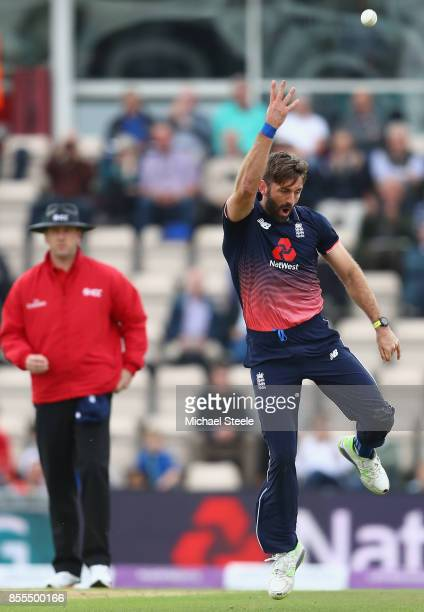 Liam Plunkett of England tosses the ball in the air after taking the caught and bowled wicket of Kyle Hope of West Indies during the 5th Royal London...