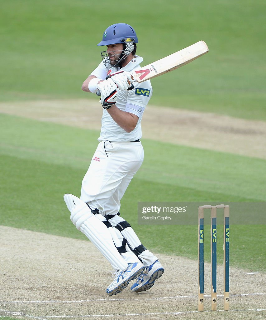 <a gi-track='captionPersonalityLinkClicked' href=/galleries/search?phrase=Liam+Plunkett&family=editorial&specificpeople=535638 ng-click='$event.stopPropagation()'>Liam Plunkett</a> of Yorkshire bats during day four of the LV County Championship Division One match between Yorkshire and Surrey at Headingley on June 24, 2013 in Leeds, England.