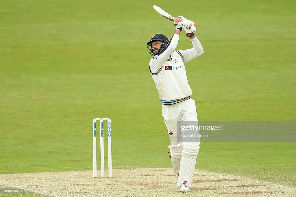 Liam Plunkett of Yorkshire bats during day three of the Specsavers County Championship: Division One match between Yorkshire and Lancashire at Headingley on May 31, 2016 in Leeds, England.