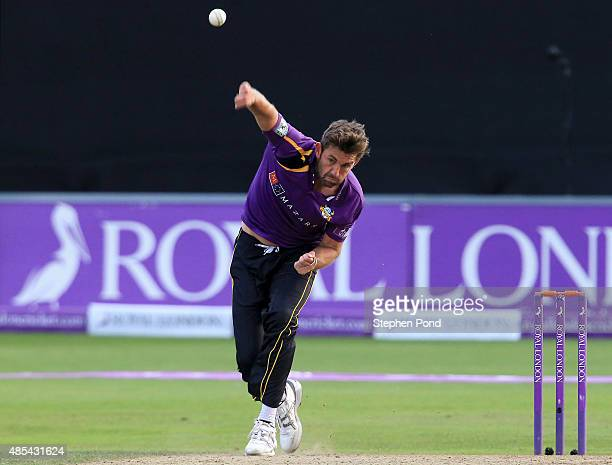Liam Plunkett of Yorkshire bowls during the Royal London OneDay Cup Quarter Final match between Essex and Yorkshire at The Essex County Ground on...